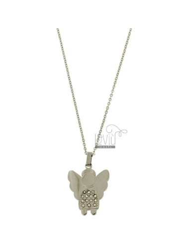 Pendant ANGELO 25x20 MM STEEL AND ZIRCONIA WITH CHAIN CABLE 50 CM
