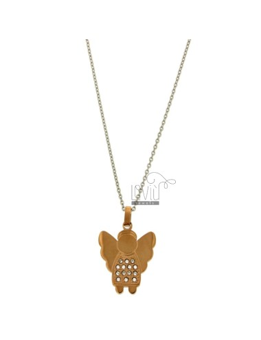 Pendant ANGELO 25x20 MM STEEL PLATED ROSE GOLD AND ZIRCONIA WITH CHAIN CABLE 50 CM