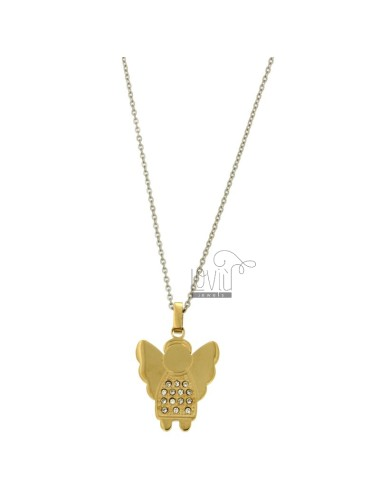 Pendant ANGELO 25x20 MM STEEL PLATED GOLD AND ZIRCONIA WITH CHAIN CABLE 50 CM