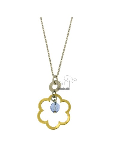 CHARM FLOWER MM 28x26 STEEL TWO TONE GOLD PLATED YELLOW AND BLUE STONE WITH CHAIN CABLE 50 CM