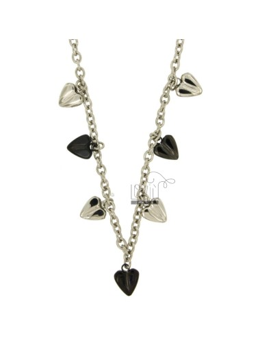 ROLO NECKLACE &39STEEL 50 CM WITH HEARTS PENDANT TWO TONE PLATED RUTENIO
