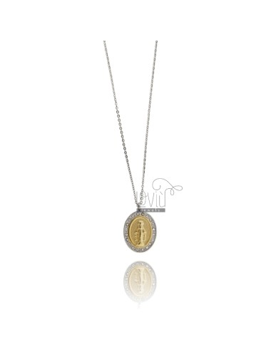Miraculous Medal Pendant 27x18 MM STEEL TWO TONE GOLD PLATED YELLOW AND WHITE ZIRCONIA WITH CHAIN CABLE 50 CM