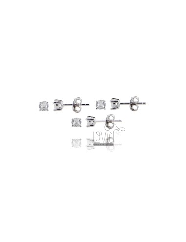 KIT 3 PAIRS OF LIGHT EARRINGS WITH WHITE ZIRCON 4 MM IN SILVER RHODIUM 925 ‰
