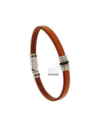 Bracelet in leather orange...