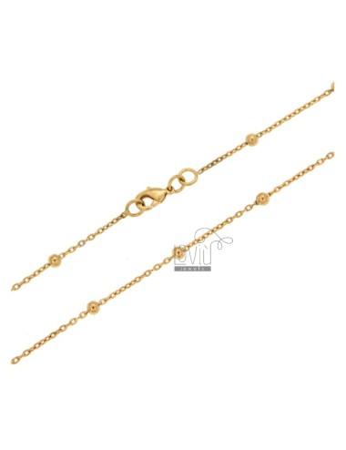 LACE AND CHAIN BALL MM 3 ALTERNATE ALUMINIUM ROSE GOLD PLATED 80 CM
