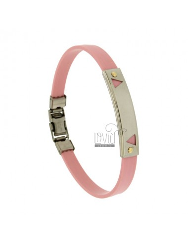 BRACELET RUBBER &39PINK WITH STEEL PLATE.THROUGH TRIANGLE WITH Vitine Bilamina IN BRASS AND GOLD