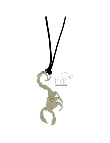 PENDANT SCORPIO MM 45x20 STEEL WITH POINT Bilamina BRASS AND GOLD WITH LACE SILK CERATA
