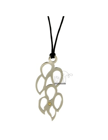 PENDANT ABSTRACT MM 60x25 STEEL WITH POINT Bilamina BRASS AND GOLD WITH LACE SILK CERATA