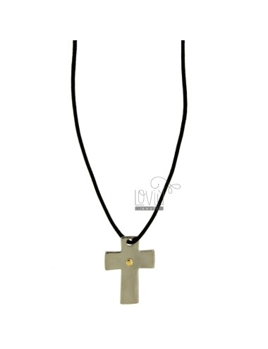 CROSS PENDANT MM 23x17 STEEL WITH POINT Bilamina BRASS AND GOLD WITH LACE SILK CERATA