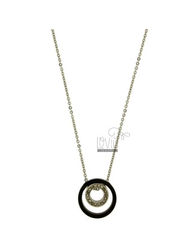 Pendant 2 CONCENTRIC CIRCLES IN STEEL AND ZIRCONIA TWO TONE PLATED RUTHENIUM CHAIN CABLE 50 CM