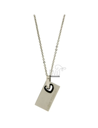 PENDANT RECTANGULAR MM 26x19 STEEL INSERT HEART SHAPED PLATED RUTENIO SCRIYTTA AND LOVE FOREVER WITH CHAIN CABLE 50 CM