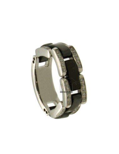 STAINLESS STEEL RIBBED RING WITH BLACK CERAMIC AND ZIRCONI MEASURE 15