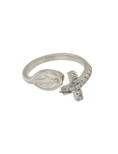 CONTRARY RING WITH MADONNA AND CROSS IN SILVER RHODIUM TIT 925 ‰ ADJUSTABLE SIZE AND ZIRCONIA