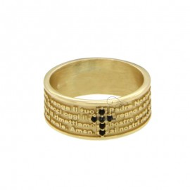 BAND RING 7.5 MM WITH OUR FATHER AND CROSS IN SILVER ZIRCONIA TIT 925 ‰ MEASURE 18
