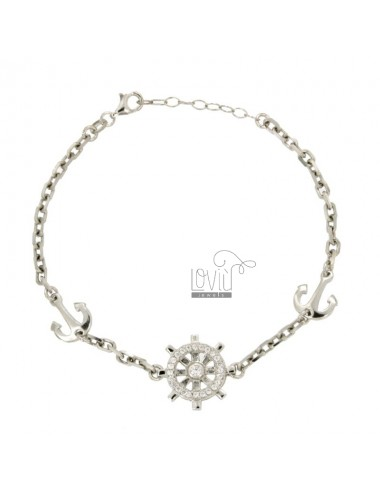 BRACELET WITH RUDDER AND ANCHORS WITH ZIRCONIA SILVER RHODIUM TIT 925 ‰ CM 19.21