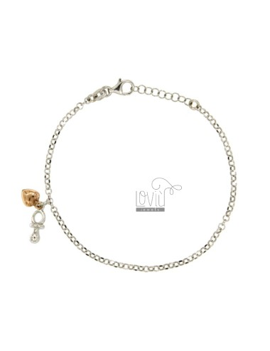 ROLO BRACELET &39WITH HEART AND pacifier PENDANT RHODIUM SILVER AND COPPER TIT 925 ‰ CM 18.20