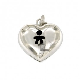 Pendant CALLING ANGELS SOUND HEART MM 27X26 SILVER RHODIUM TIT 925 ‰ WITH CHILD THROUGH