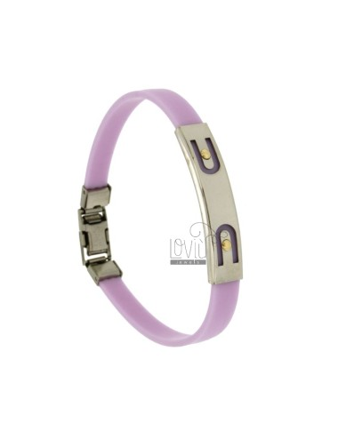 BRACELET RUBBER &39LILAC WITH BOWS IN STEEL PLATE.THROUGH WITH Vitine Bilamina IN BRASS AND GOLD