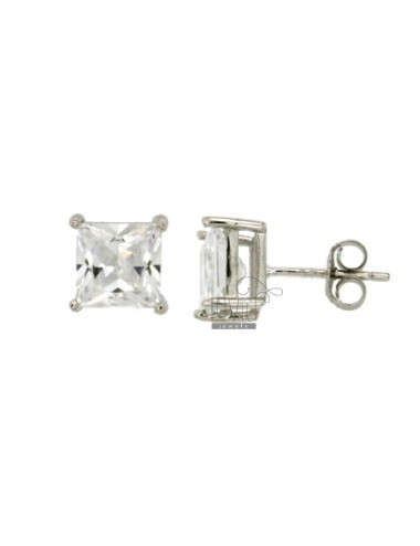 EARRINGS ZIRCONE WHITE 7X7 MM SQUARE IN AG TIT RODIATO 925 ‰