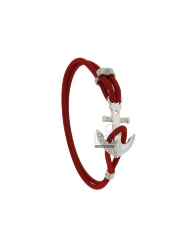 ELASTIC BRACELET WITH RED AGAIN IN SILVER RHODIUM TIT 925 ‰ AND ZIRCONIA