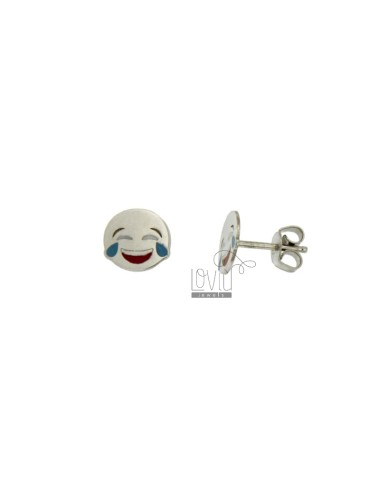 LOBO EARRINGS MM 8 EMOTICON LAUGHTER IN SILVER RHODIUM TIT 925 ‰ AND GLAZE