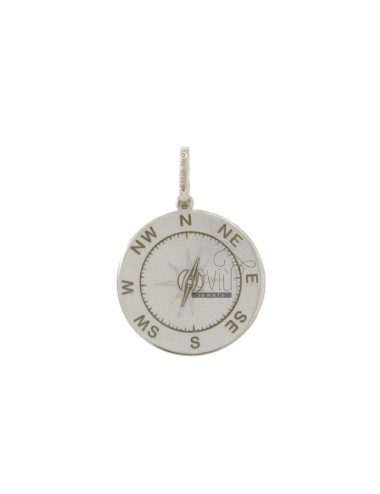 PENDANT 18 MM ROUND WITH WIND ROSE SILVER RHODIUM TIT 925