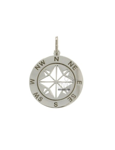 PENDANT 22 MM ROUND WITH WIND ROSE SILVER RHODIUM TIT 925
