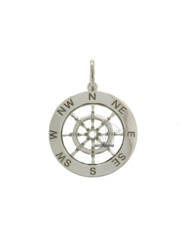 PENDANT 22 MM ROUND WITH HELM IN SILVER RHODIUM TIT 925
