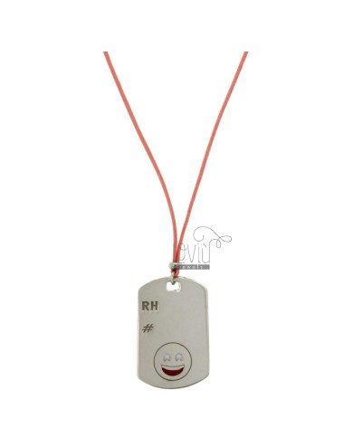 PENDANT TYPE PLATE WITH MILITARY MM 32x20 RH EMOTICON SMILE AND SILVER RHODIUM TIT 925 ‰ POLISH AND LACE SILK PINK CERATA