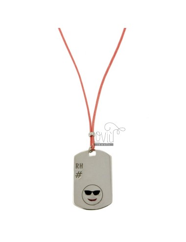 PENDANT TYPE PLATE WITH MILITARY MM 32x20 RH EMOTICON AND HOLIDAY IN SILVER RHODIUM TIT 925 ‰ POLISH AND LACE SILK PINK CERATA