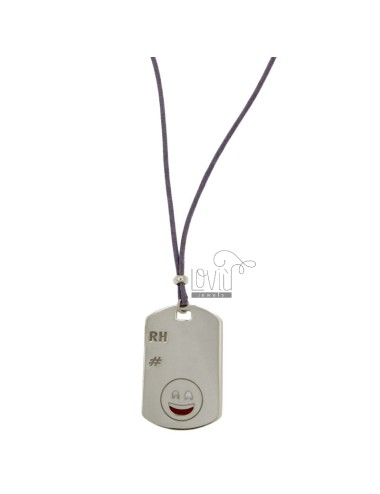 PENDANT TYPE PLATE WITH MILITARY MM 32x20 RH EMOTICON SMILE AND SILVER RHODIUM TIT 925 ‰ POLISH AND LACE SILK CERATA LILAC