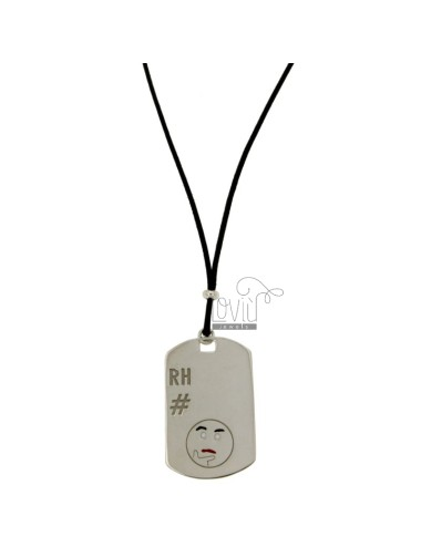 PENDANT TYPE PLATE WITH MILITARY MM 32x20 RH AND EMOTICON thoughtfully SILVER RHODIUM TIT 925 ‰ POLISH AND LACE SILK BLACK WAXED