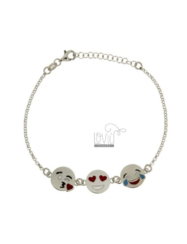 ROLO BRACELET &39WITH 3 EMOTICONS KISS, LOVE AND LAUGHTER IN SILVER RHODIUM TIT 925 ‰ CM 18