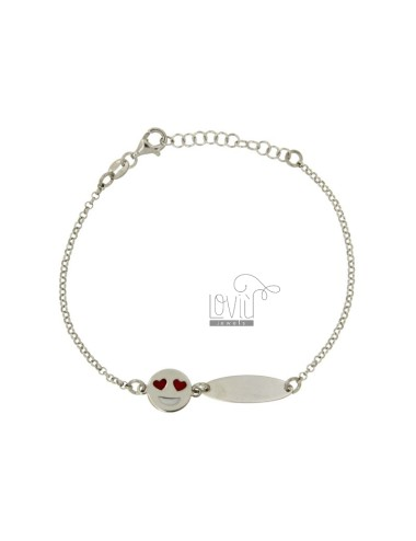 ROLO BRACELET &39WITH PLATE AND EMOTICONS LOVE SILVER RHODIUM TIT 925 ‰ CM 18