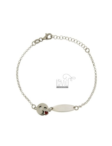 ROLO BRACELET &39WITH PLATE AND EMOTICONS KISS SILVER RHODIUM TIT 925 ‰ CM 18