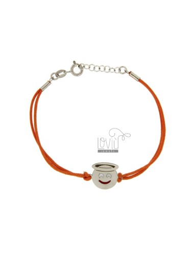 BRACCIALE IN SETA ARANCIONE CON EMOTICONS ANGELO MM 15 IN ARG. RODIATO TIT 925‰ E SMALTO CM 16-18