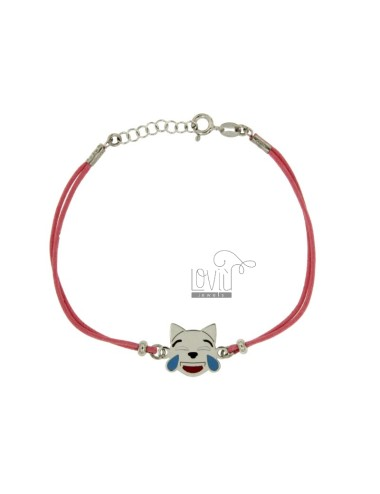 BRACCIALE IN SETA ROSA CON EMOTICONS GATTO RISATA MM 15 IN ARG. RODIATO TIT 925‰ E SMALTO CM 16-18