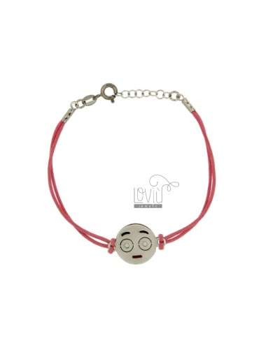 BRACELET WITH PINK SILK EMOTICONS SPOILT 15 MM SILVER RHODIUM TIT 925 ‰ AND POLISH CM 16.18