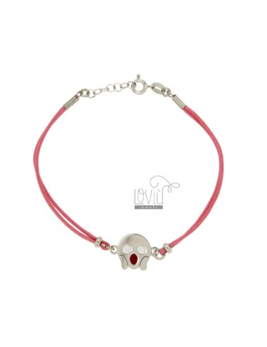 BRACELET WITH PINK SILK EMOTICONS ROARING 15 MM SILVER RHODIUM TIT 925 ‰ AND POLISH CM 16.18