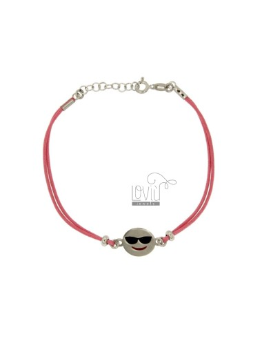 BRACELET WITH PINK SILK EMOTICONS HOLIDAY 15 MM SILVER RHODIUM TIT 925 ‰ AND POLISH CM 16.18