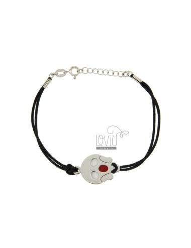 BRACELET IN BLACK SILK WITH YELL EMOTICONS 15 MM SILVER RHODIUM TIT 925 ‰ AND POLISH CM 16.18