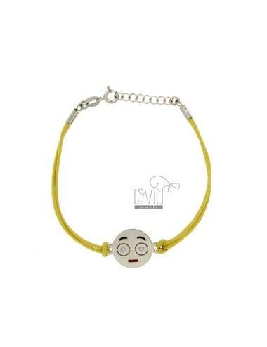 BRACELET WITH YELLOW SILK EMOTICONS SPOILT 15 MM SILVER RHODIUM TIT 925 ‰ AND POLISH CM 16.18