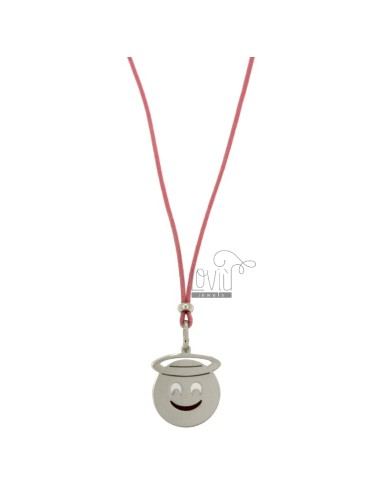 NECKLACE WITH PINK SILK EMOTICONS ANGELO 17 MM SILVER RHODIUM TIT 925 ‰ AND GLAZE