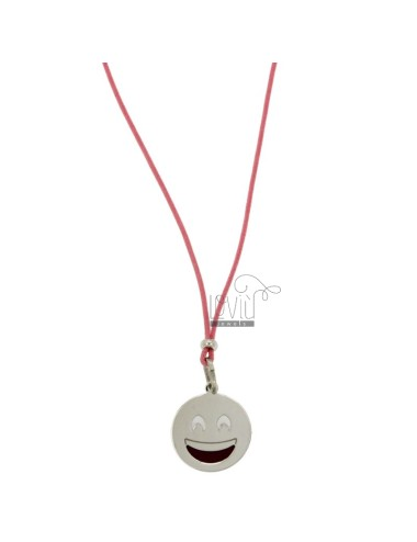 COLLANA IN SETA ROSA CON EMOTICONS SORRISO MM 17 IN ARG. RODIATO TIT 925‰ E SMALTO