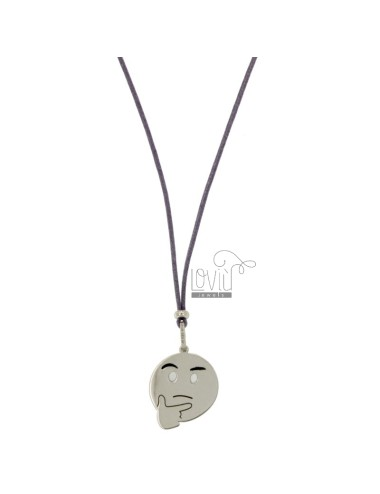 NECKLACE WITH LILAC SILK EMOTICONS thoughtfully 17 MM SILVER RHODIUM TIT 925 ‰ AND GLAZE