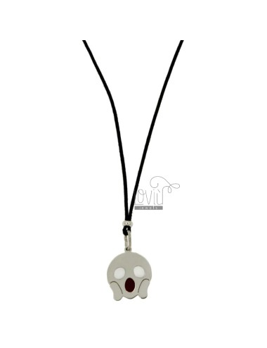 NECKLACE IN BLACK SILK WITH FEAR EMOTICONS 17 MM SILVER RHODIUM TIT 925 ‰ AND GLAZE