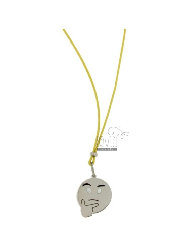 NECKLACE WITH YELLOW SILK EMOTICONS thoughtfully 17 MM SILVER RHODIUM TIT 925 ‰ AND GLAZE