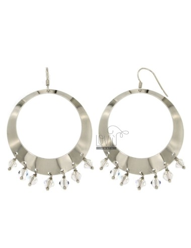 EARRINGS ZINGARA MM 63X45 SILVER RHODIUM TIT 925 ‰ AND CRYSTAL FACETED