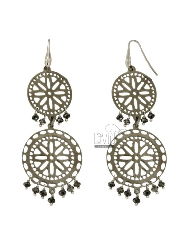EARRINGS ZINGARA MM 94X32 SILVER PLATED RUTENIO TIT 925 ‰ faceted CRYSTALS AND GRAY