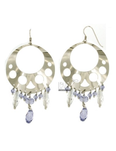 EARRINGS ZINGARA MM 80X44 SILVER RHODIUM TIT 925 ‰ AND CRYSTAL FACETED TRANSPARENT AND LILAC